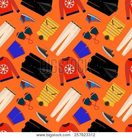 Seamless Patterns Of Male Clothes, Shoes And Accessories For Online Store. Men S Wear Backgrounds Fo