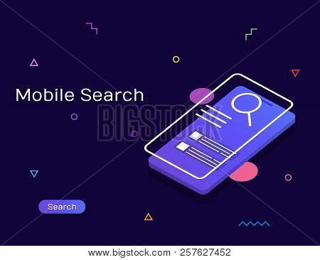 Visual Search, Search Engine, Mobile Search Modern Vector Banner Illustration With Icons And Texts.