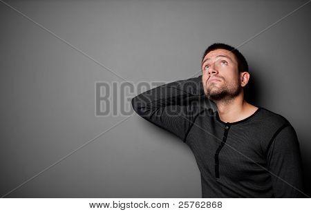 Depressed Man Looking Up