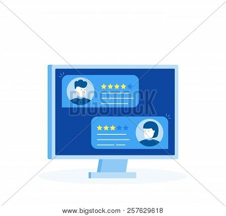 Computer With Customer Review Rating Messages, Desktop Pc Display And Online Review Or Client Testim