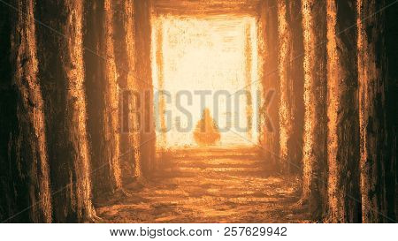 Ancient Unknown Temple Of Destiny. Orange Color Background. Drawing Illustration An Interior Of Hall