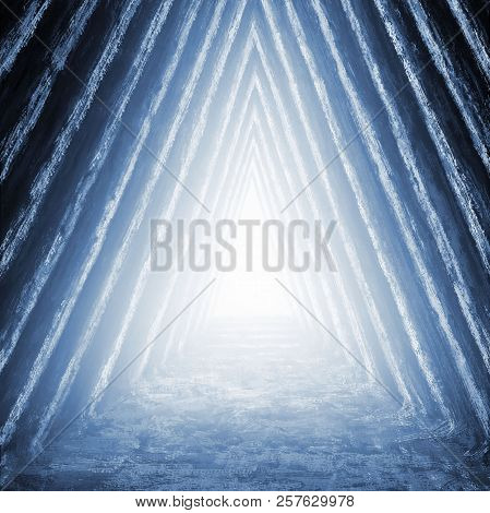 Unknown Temple Of Destiny In Pyramid. Genre Of Fantasy. Blue Background Color.