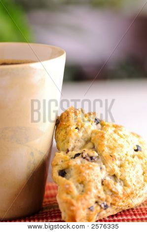Blueberry Scone And Cup Of Coffee