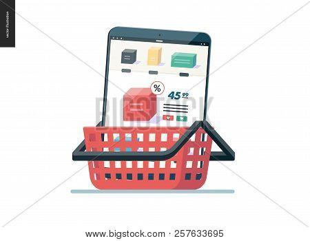 Business Series, Color 1- Cart - Modern Flat Vector Illustration Concept Of Online Shop - Mobile Tab