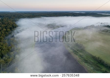 Sunrise On The River, Aerial View Of Morning Mist At Sunrise, Morning Mist On The River,  Aerial Vie