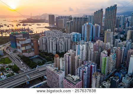 Mei Foo, Hong Kong, 04 September 2018:- Drone fly over Hong Kong city in the evening