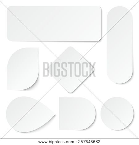 White Paper Stickers. Blank Labels, Tags In Rectangular And Round Shape. Isolated Vector Set. Advert