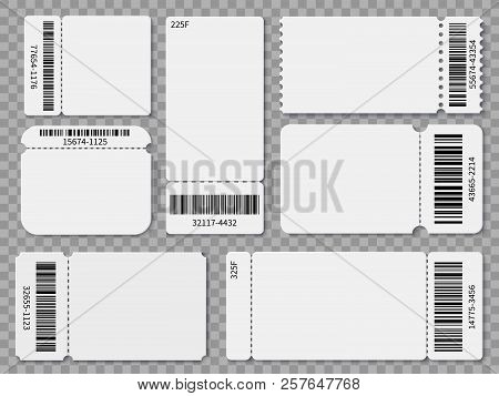 Ticket Templates. Blank Admit One Festival Concert Theater Raffle Tickets And Coupons With Barcode I