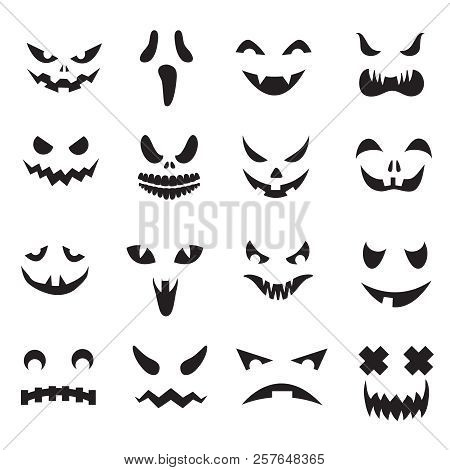 Pumpkin Faces. Halloween Jack O Lantern Face Silhouettes. Monster Ghost Carving Scary Eyes And Mouth