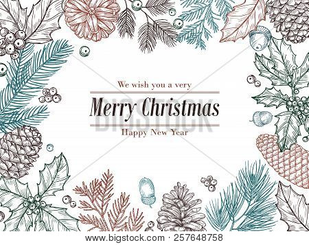 Christmas Vintage Invitation. Winter Fir Pine Branches, Pinecones Floral Border. Christmas, Xmas Bot