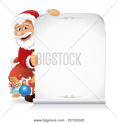 Santa Claus holding a Blank paper Scroll poster