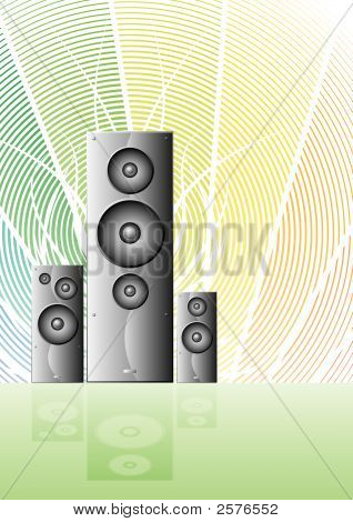 Three Music Speakers On A Rainbow Lined Background