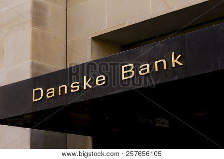 Copenhagen, Denmark - September 8: Danske Bank Logo On Front Of Branch. Danske Bank Is The Largest B