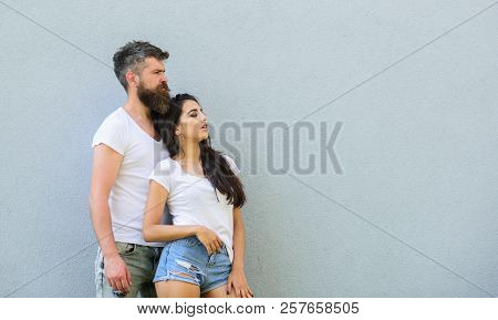 Romantic Couple. Couple In Love Hang Out Together Grey Background Copy Space. Couple White Shirt Cud