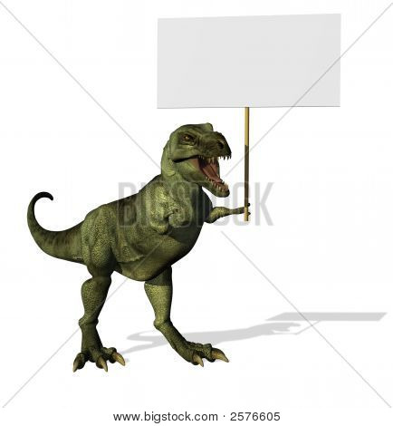 T-Rex With Blank Sign