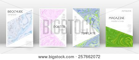 Abstract Cover. Posh Design Template. Suminagashi Marble Triangle Poster. Posh Trendy Abstract Cover