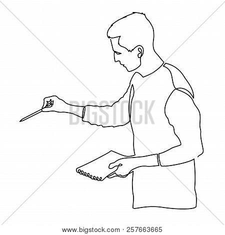 Continuous Single Drawn One Line Teacher With Textbook. Lecturer Or Office Worker At A Workshop Vect