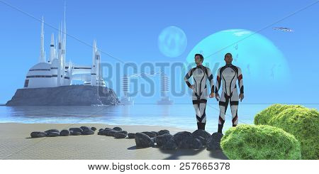 Blue Planet 3d Illustration - Two Men In Military Uniform Visiting From Earth Check Out A Shoreline