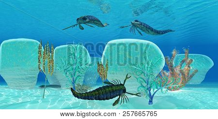 Ocean Pterygotus Scorpion Fish 3d Illustration - Pterygotus Was A Carnivorous Sea Scorpion That Live