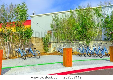 Menlo Park, California, United States - August 13, 2018: Bicycles Used By Facebook Employees To Navi