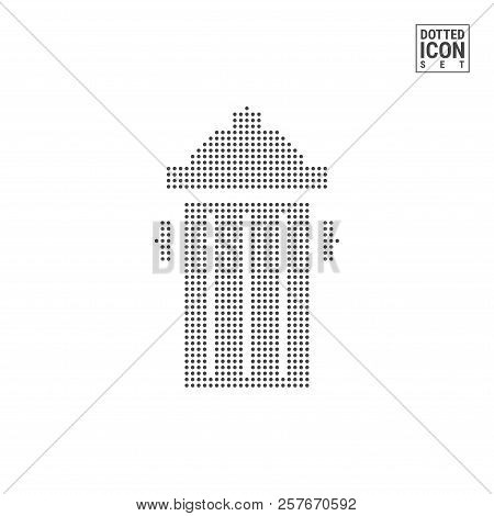 Dumpster Dot Pattern Icon. Recycle Wastebasket Dotted Icon Isolated On White. Vector Background, Des