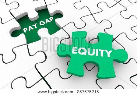 Pay Gap Equity Fair Wages Men Vs Women Puzzle Pieces 3d Illustration poster