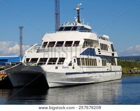 Vladivostok,primorsky Kray / Russia - September 8 2018: Catamaran Vakasio Moored In Jitkova Bay Of R
