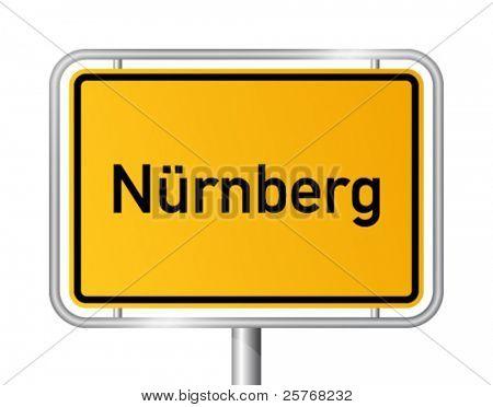City limit sign NUREMBERG / NÜRNBERG against white background - federal state of Bavaria - vector illustration