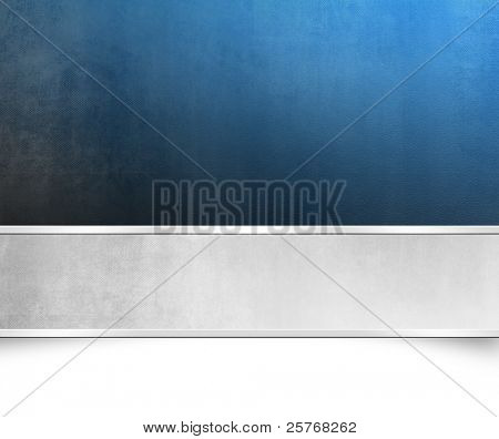 Grunge blue background paper texture with light silver grey banner