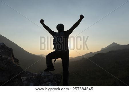 Summit Joyful, Happy People And Enjoy Nature