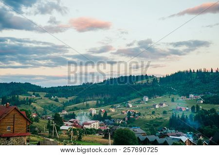 Bukovel, Ukraine - July 13, 2018: Amazing View On Beautiful Mountains Landscape. Carpathian Mountain