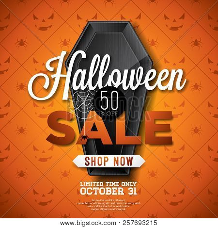 halloween sale vector illustration with black coffin and cobweb on orange spider texture background