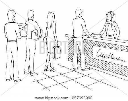 Shop Graphic Black White Sketch Illustration Vector. People Waiting In Line Queue