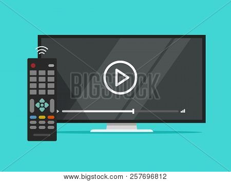 Tv Flat Screen Watching Video Film And Remote Control, Flat Cartoon Television Display And Movie Or