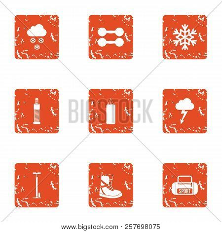 Fitness Recreation Icons Set. Grunge Set Of 9 Fitness Recreation Icons For Web Isolated On White Bac