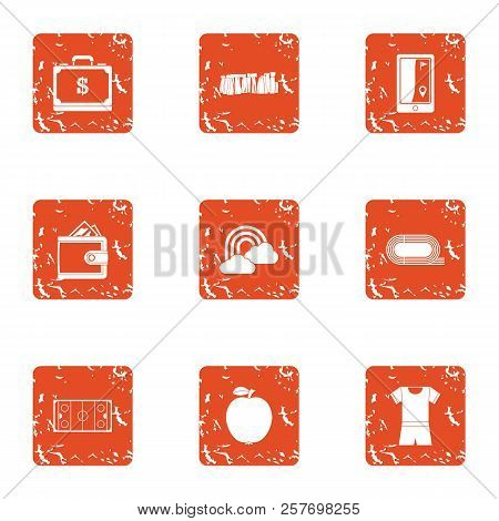 Money Recreation Icons Set. Grunge Set Of 9 Money Recreation Icons For Web Isolated On White Backgro