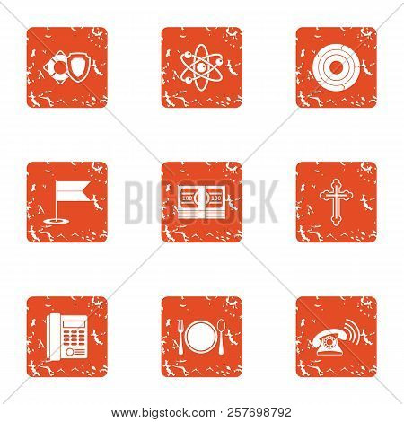 Physical Law Icons Set. Grunge Set Of 9 Physical Law Icons For Web Isolated On White Background