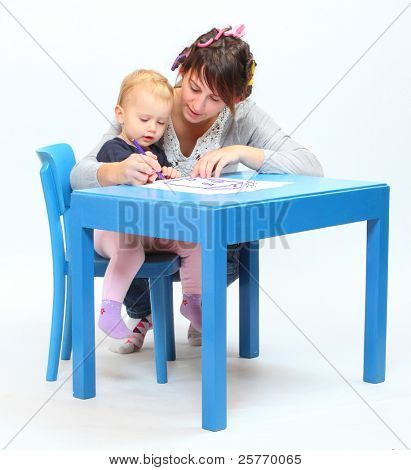 Young mother and her child spent time together.
