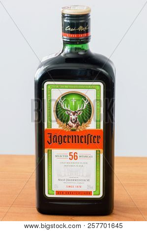 Pruszcz Gdanski, Poland - August 19, 2018: Bottle Of Jagermeister Liquor Drink Made With 56 Herbs An
