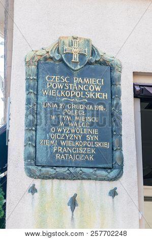 Poznan, Poland - August 19, 2018: Memorize Plaque Of Franciszek Ratajczak. Franciszek Ratajczak Is M