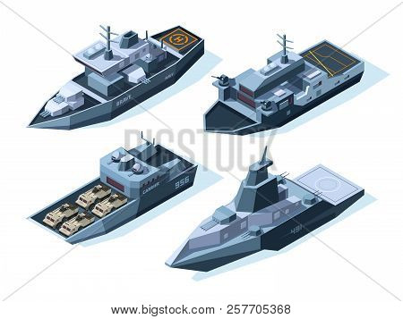 Isometric Warships. Vector Military Boats. Illustration Of Warship Military, Ship And Boat, Vessel N