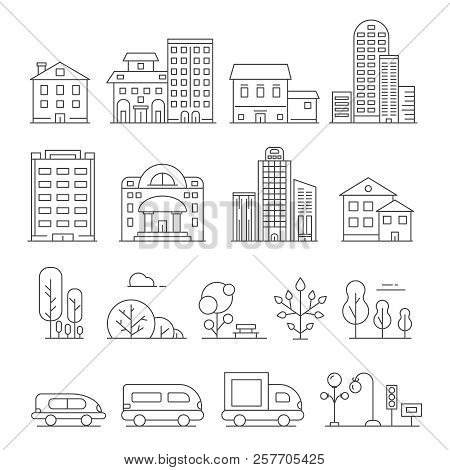 Buildings And Urban Objects. Vector Linear Pictures Of Cars, House And Urban Trees. Illustration Of