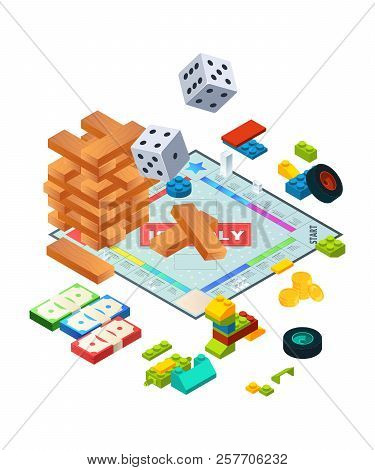 Composition Of Various Boards Games. Isometric Background Pictures Of Board Games. Wooden Game Block
