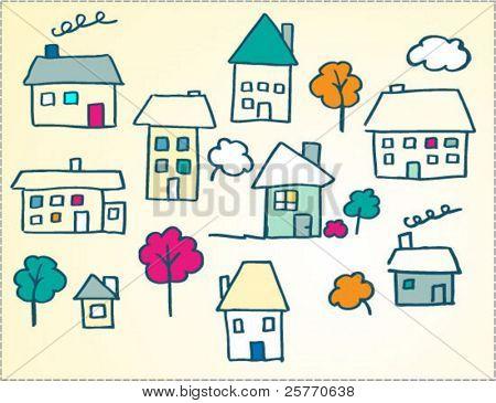child like doodle houses illustration