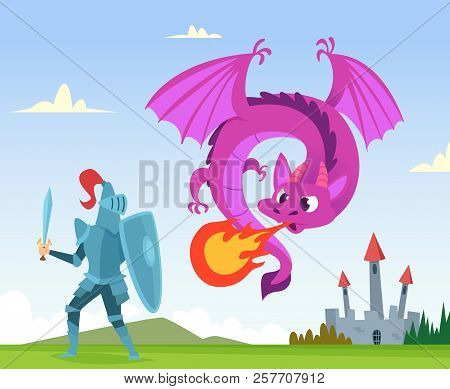 Dragon Fighting. Wild Fairytale Fantasy Creatures Amphibian With Wings Castle Attack With Big Flame