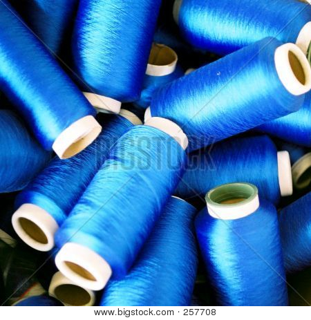 Rolls Of Blue Colored Yarn