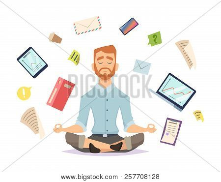 Business Yoga Concept. Office Zen Relax Concentration At Workspace Table Yoga Practice Vector Illust