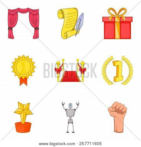 Win Conquest Icons Set. Cartoon Set Of 9 Win Conquest Icons For Web Isolated On White Background