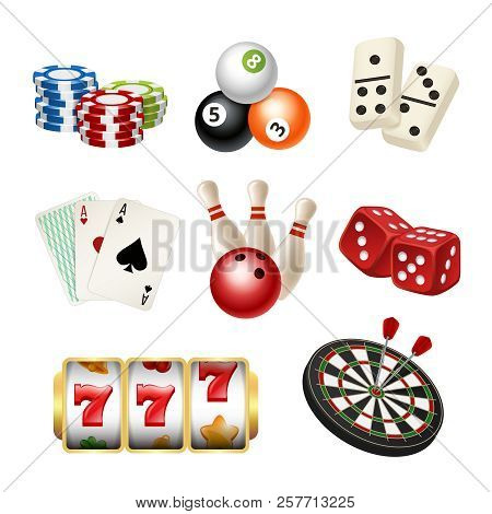 Casino Game Icons. Playing Cards Bowling Domino Darts Dice Vector Realistic Illustrations Of Play To
