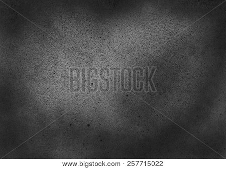 Subtle Grain Texture. Abstract Black And White Gritty Grunge Background. Dark Paint Spray Particles